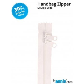"By Annie 30"" Handbag Zipper Double Slide White Zip"