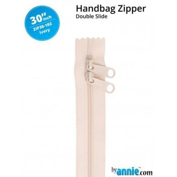 "By Annie 30"" Handbag Zipper Double Slide Ivory Zip"