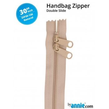 "By Annie 30"" Handbag Zipper Double Slide Natural Zip"
