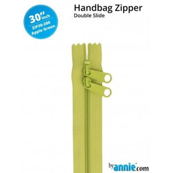 "By Annie 30"" Handbag Zipper Double Slide Apple Green Zip"