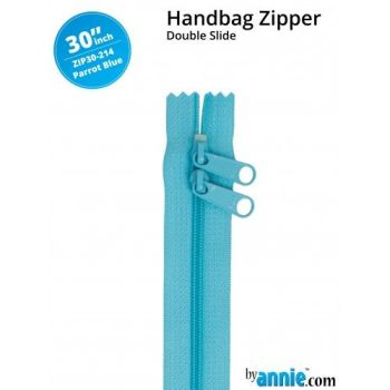 "By Annie 30"" Handbag Zipper Double Slide Parrot Blue Zip"