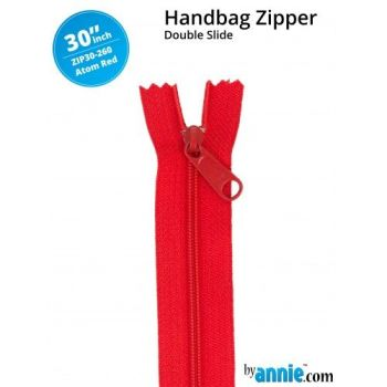 "By Annie 30"" Handbag Zipper Double Slide Atom Red Zip"