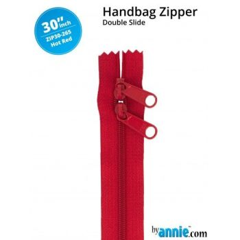 "By Annie 30"" Handbag Zipper Double Slide Hot Red Zip"