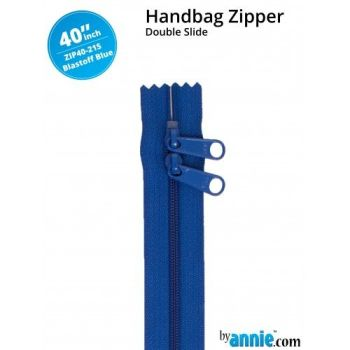 "By Annie 40"" Handbag Zipper Double Slide Blastoff Blue Zip"