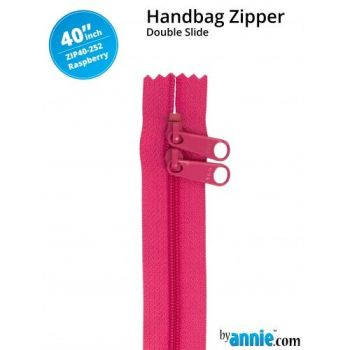 "By Annie 40"" Handbag Zipper Double Slide Raspberry Zip"