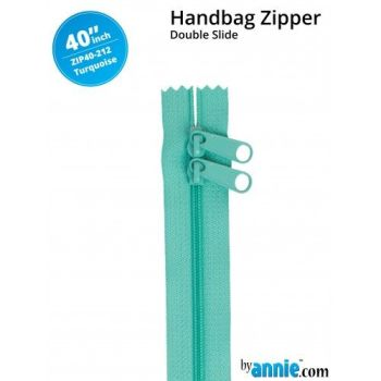 "By Annie 40"" Handbag Zipper Double Slide Turquoise Zip"