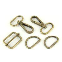 """Basic Bag Making Hardware Kit 1"""" Antique Brass Purse Supplies"""