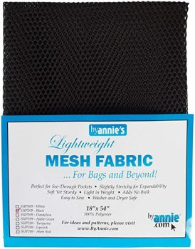 By Annie Lightweight Mesh Fabric Black 18 in x 54 in