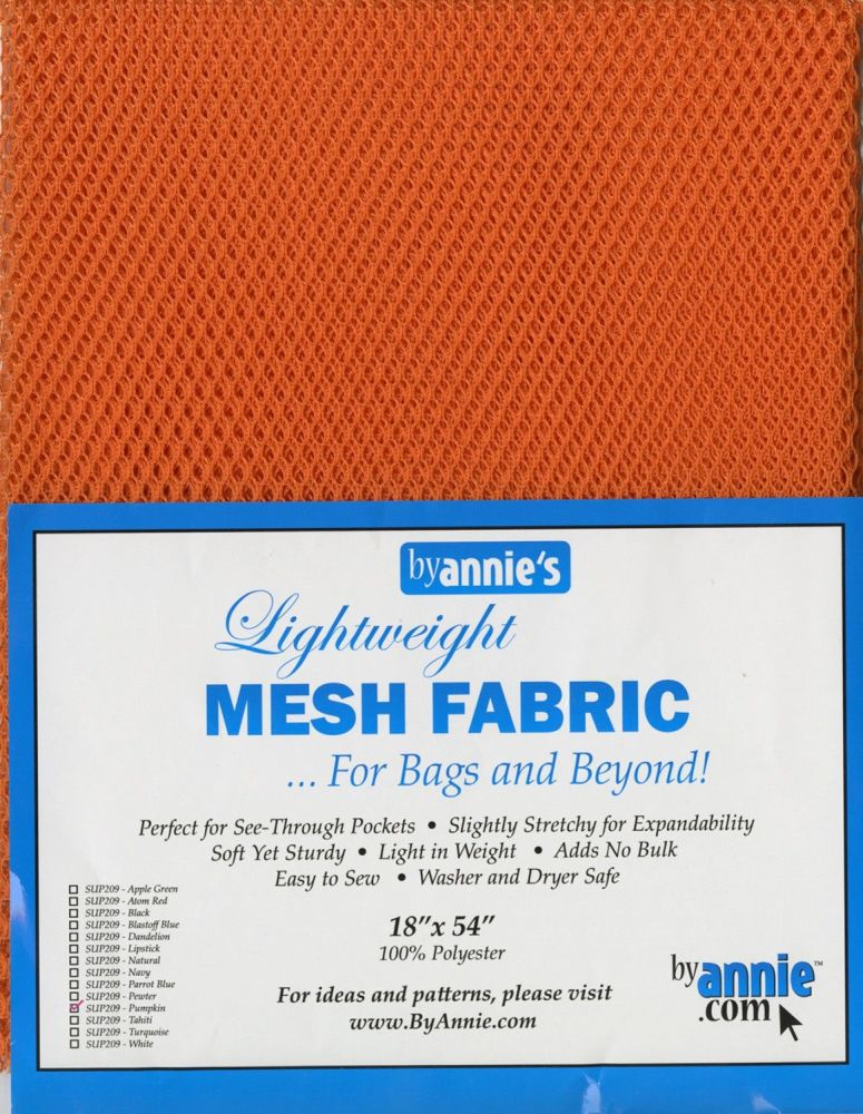 By Annie Lightweight Mesh Fabric Pumpkin 18 in x 54 in