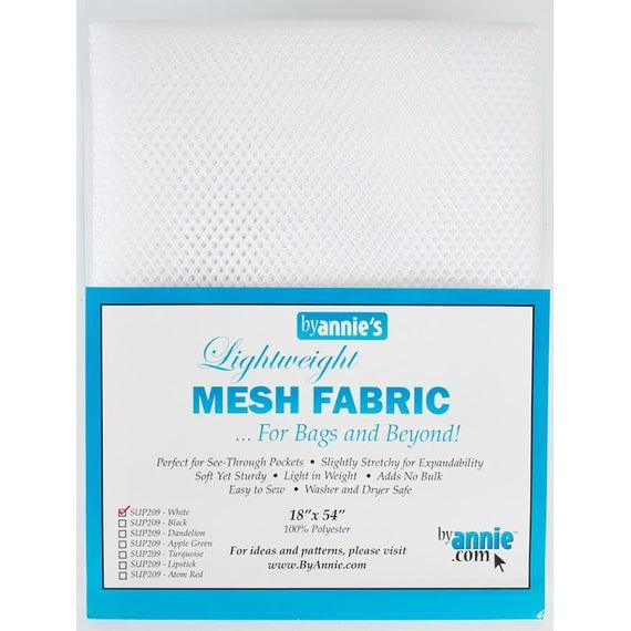By Annie Lightweight Mesh Fabric White 18 in x 54 in