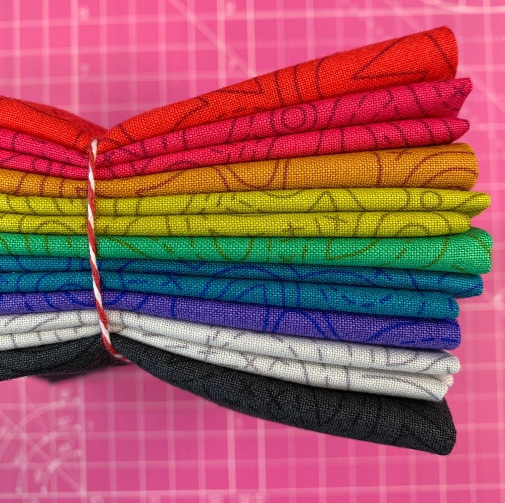 Alison Glass Sun Print 2020 Stitched Collection 9 Fat Quarter Bundle Cotton