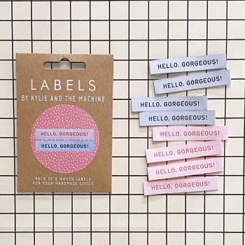 "Kylie and the Machine ""HELLO GORGEOUS"" Woven Labels 8 Pack"