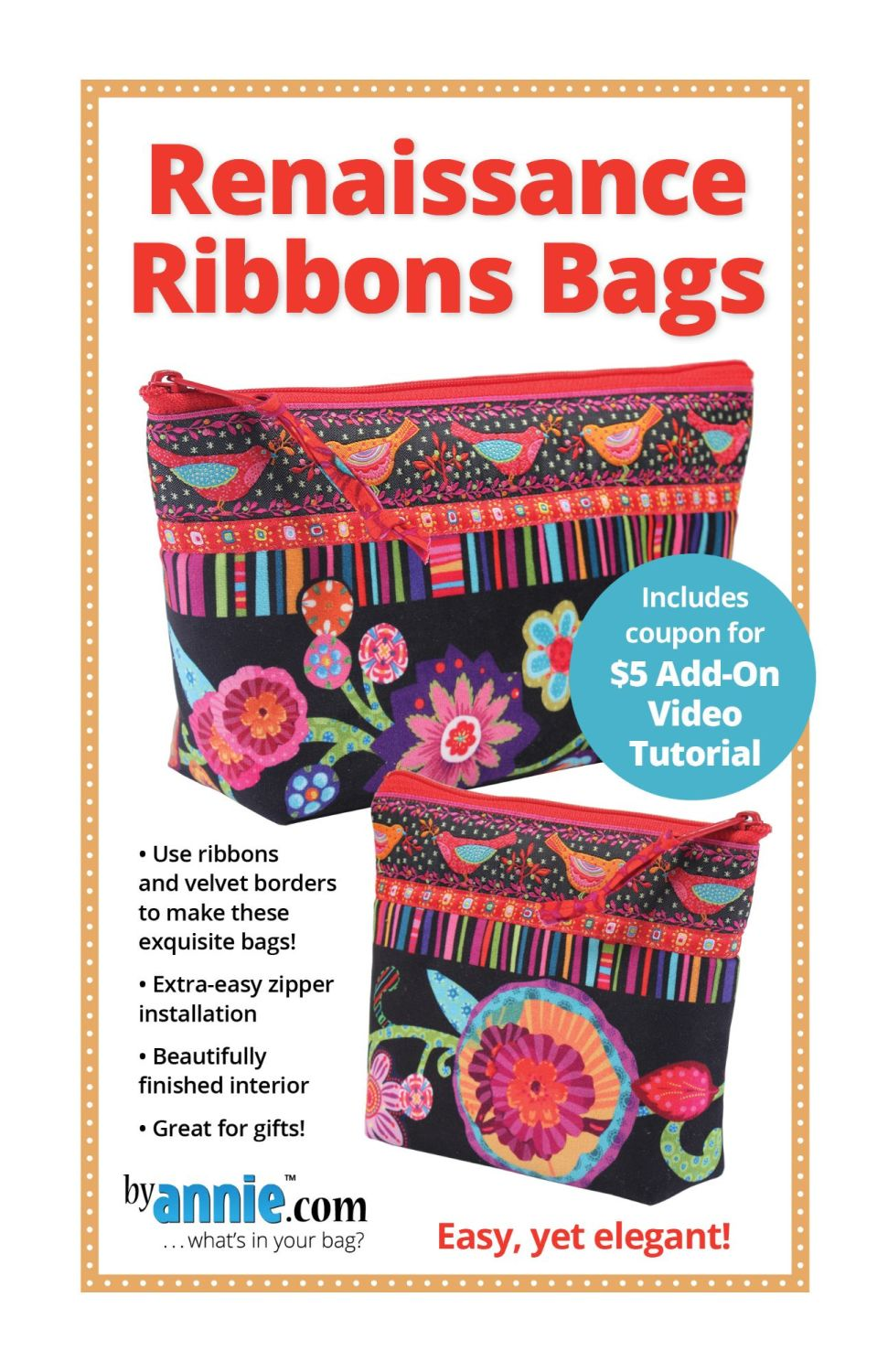By Annie Renaissance Ribbons Bags Pattern