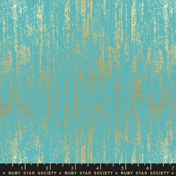 Tiger Fly Brushed Turquoise Metallic Gold Texture Ruby Star Society Sarah Watts Cotton Fabric
