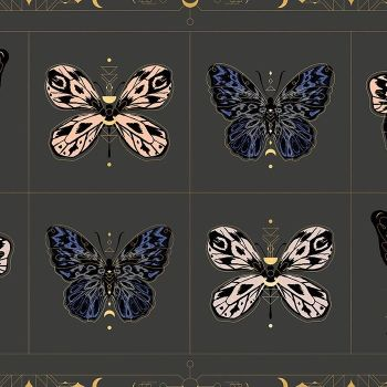 "Tiger Fly Gossamer in Ash Butterfly 24"" Panel Metallic Gold Sarah Watts Ruby Star Society Butterflies Cotton Fabric"