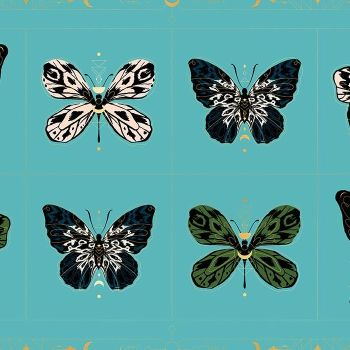 "Tiger Fly Gossamer in Turquoise Butterfly 24"" Panel Metallic Gold Sarah Watts Ruby Star Society Butterflies Cotton Fabric"