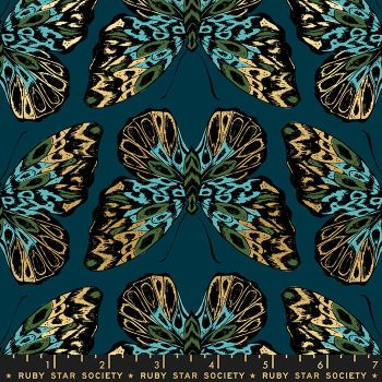 Tiger Fly Queen Dark Teal Butterfly Metallic Gold Butterflies Ruby Star Society Sarah Watts Cotton Fabric