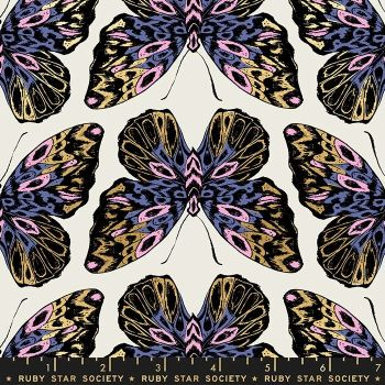 Tiger Fly Queen Shell Butterfly Metallic Gold Butterflies Ruby Star Society Sarah Watts Cotton Fabric