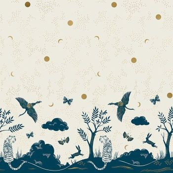 Tiger Fly Chrysalis Border Print Shell Tiger Crane Scenic Metallic Gold Panel Selvedge Cotton Fabric for Dressmaking