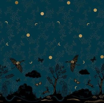 Tiger Fly Chrysalis Border Print Dark Teal Tiger Crane Scenic Metallic Gold Panel Selvedge Cotton Fabric for Dressmaking