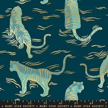 Tiger Fly Tigress Dark Teal Tigers Metallic Gold Ruby Star Society Sarah Watts Cotton Fabric