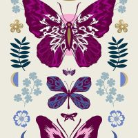 """Tiger Fly Mother Shell Butterfly 24"""" Panel Metallic Gold Sarah Watts Ruby Star Society Butterflies Cotton Fabric"""