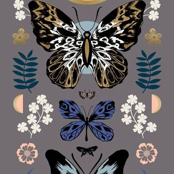 "Tiger Fly Mother Slate Grey Butterfly 24"" Panel Metallic Gold Sarah Watts Ruby Star Society Butterflies Cotton Fabric"