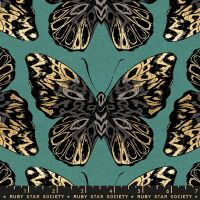 Tiger Fly Queen Aqua Butterfly Metallic Gold Butterflies Ruby Star Society Sarah Watts Cotton Linen Canvas Fabric