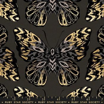 Tiger Fly Queen Noir Butterfly Metallic Gold Butterflies Ruby Star Society Sarah Watts Cotton Linen Canvas Fabric