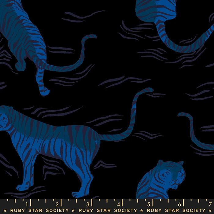 Tiger Fly Black Rayon Sarah Watts Ruby Star Society  Viscose Challis Fabric