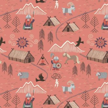 Viking Adventure Viking Village Vikings on Peach Nursery Cotton Fabric
