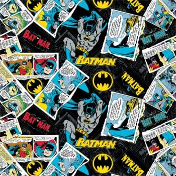 DC Batman 80th Anniversary Collage Comics Black Superhero Comic Book Hero Dark Knight Logo Cotton Fabric