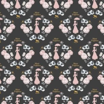 Disney Mary Poppins DELUXE Damask Carbon Metallic Gold Floral Cotton Fabric
