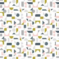 Forme Scattered Geometric on Cream Retro Shapes Cotton Fabric