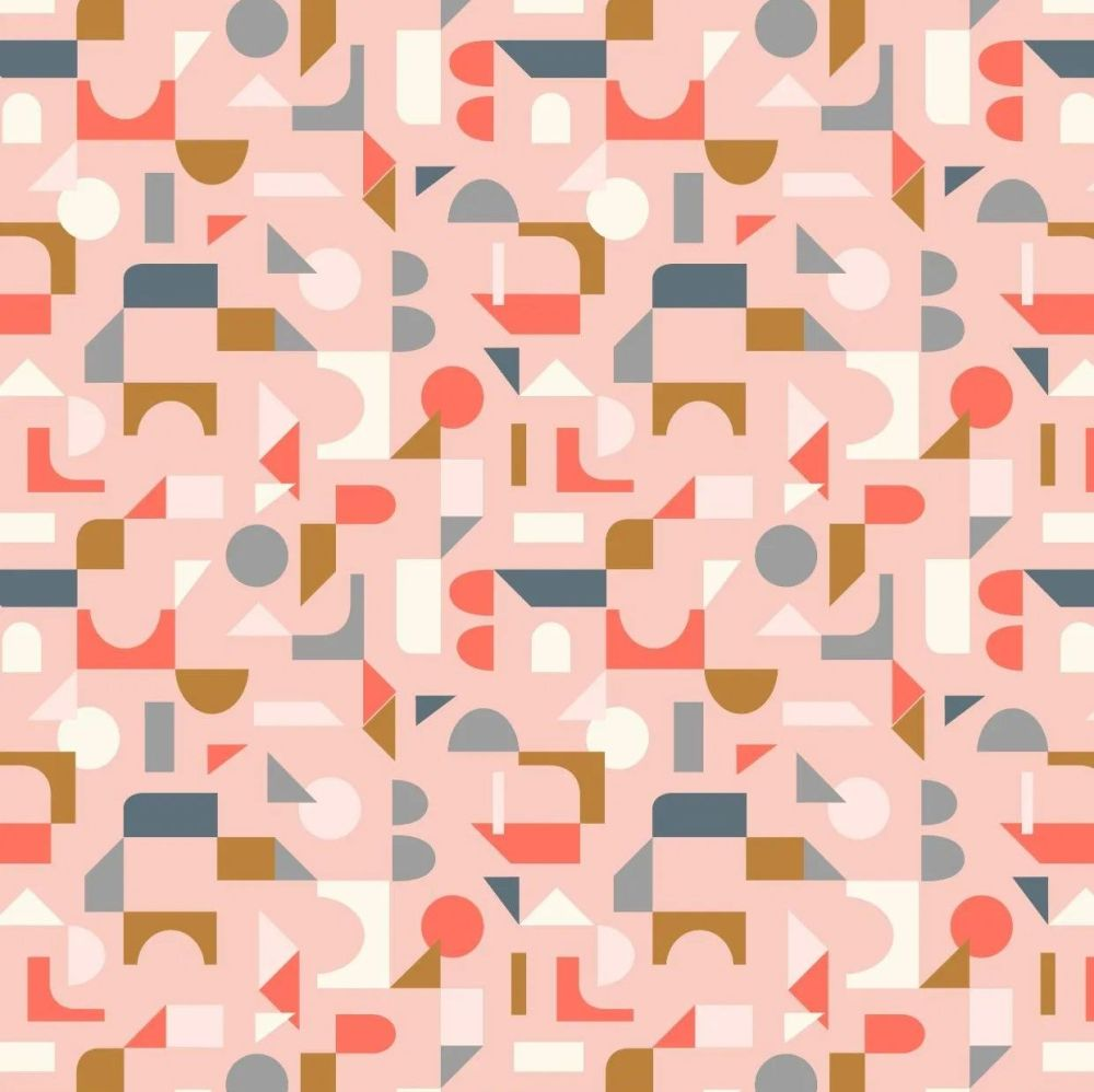 Forme Scattered Geometric on Blush Pink Retro Shapes Cotton Fabric