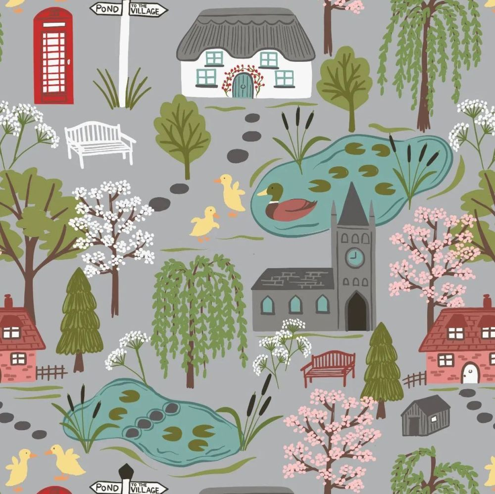The Village Pond Village Scene on Grey Scenic Duck Pond British Wildlife Co