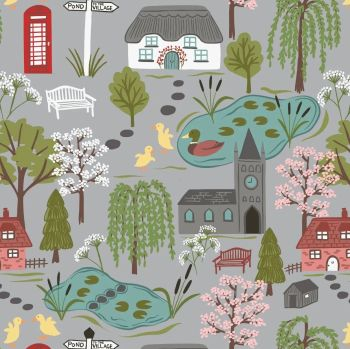 The Village Pond Village Scene on Grey Scenic Duck Pond British Wildlife Cotton Fabric