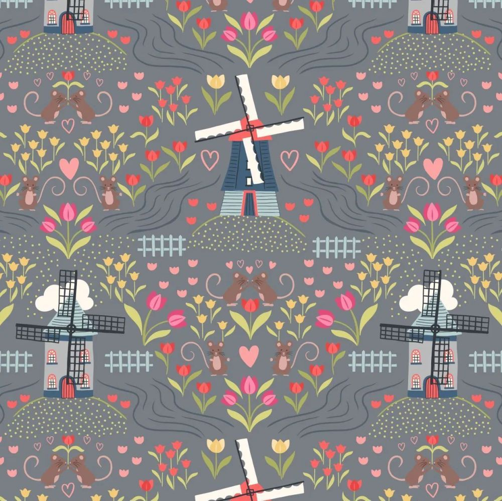 Tulip Fields Windmills on Light Slate Tulips Flowers Mice Cotton Fabric
