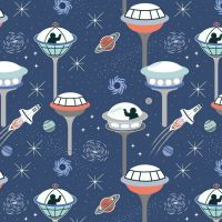 Light Years Lewis and Irene Space City Dark Blue Planets Glow in the Dark GID Cotton Fabric