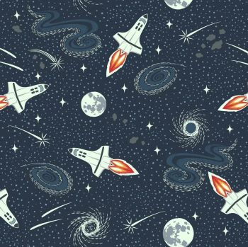 Light Years Lewis and Irene Rockets Navy Blue Stars Space Constellation Glow in the Dark GID Cotton Fabric
