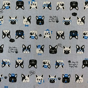 Ganko Cosmo Tex French Bulldogs Dog Frenchie Dogs Natural Cotton Linen Canvas Fabric