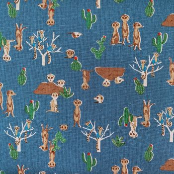 Matsui Kokka Meerkat Family Teal Meerkats Cotton Linen Canvas Fabric