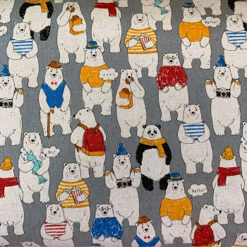 Polar Bear Grey Cool Dudes Polar Bears in Outfits Cosmo Tex Japan Cotton Linen Canvas Fabric