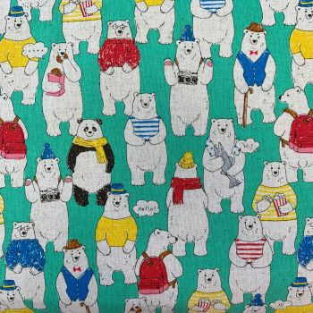 Polar Bear Green Cool Dudes Polar Bears in Outfits Cosmo Tex Japan Cotton Linen Canvas Fabric