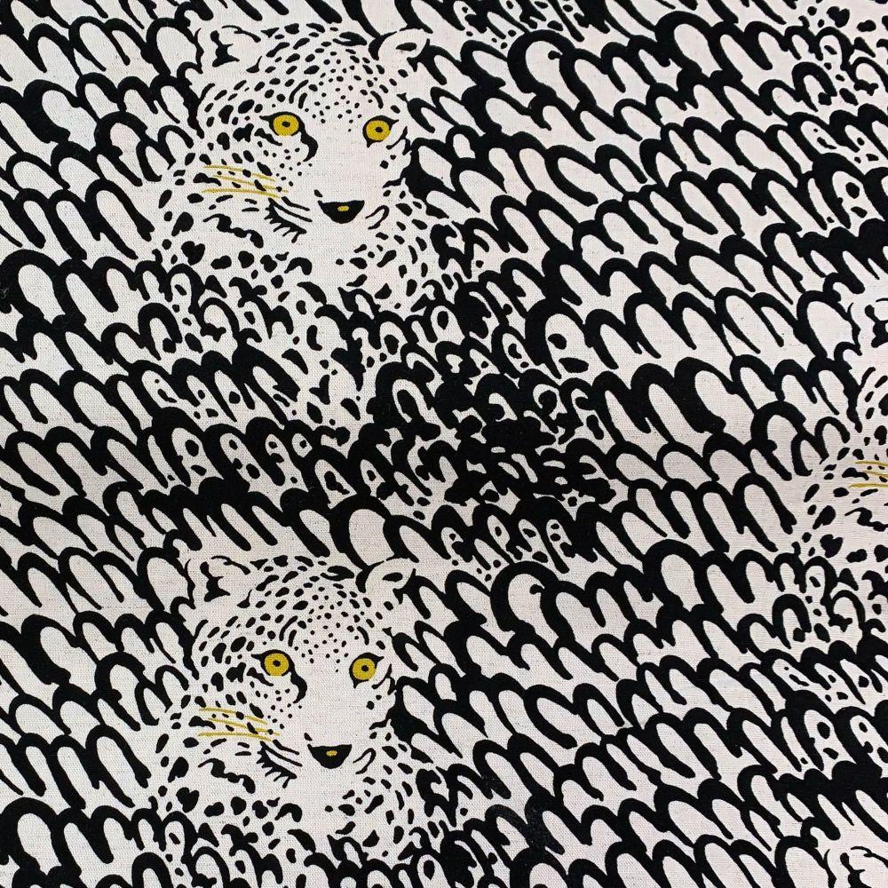 Leopard Face Print Leopards Largescale Natural Cotton Linen Canvas Fabric