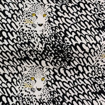 Leopard Face Print Leopards Largescale Natural Cotton Linen Canvas Fabric