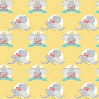Disney Classics Dumbo In The Circus Flying Elephant Yellow Fun Baby Elephant Nursery DELUXE Cotton Fabric