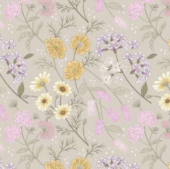 Botanic Garden Floral Flowers on Linen Floral Botanical Plant Gardeners Flower Cotton Fabric