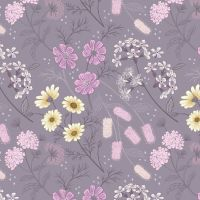 Botanic Garden Floral Flowers on Warm Lilac Floral Botanical Plant Gardeners Flower Cotton Fabric