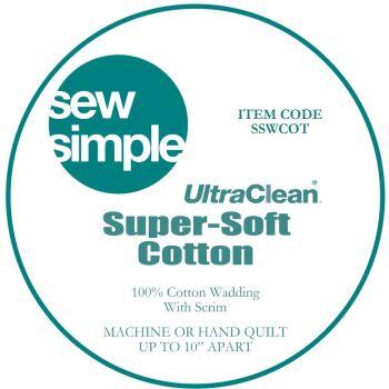 "Sew Simple Super-Soft 100% Cotton Wadding Quilt Batting 90"" Wide Sold Per 25cm"